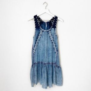 Free People Acid Wash Lace Up Tank Boho Dress